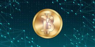 Kreatywnie wektorowa ilustracja 3d bitcoin złota moneta odizolowywająca na tle Sztuka projekta cyfrowa waluta, cryptocurrency zap Zdjęcia Stock