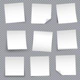 Kreatywnie wektorowa ilustracja poczta nutowych papierów majcheru szpilka odizolowywająca na przejrzystym tle Półprzezroczysta ad ilustracji