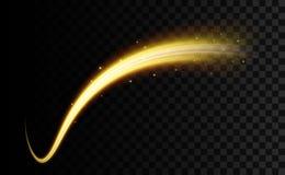 Kreatywnie wektorowa ilustracja złoty lekki skutek, rozjarzone faliste linie, połysk krzywa błyska odosobnionego na przejrzystym ilustracja wektor