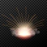 Kreatywnie wektorowy ilustracja błysk elektrycznego spawu metalu ogień z iskrami odizolowywać na przejrzystym tle sztuka royalty ilustracja