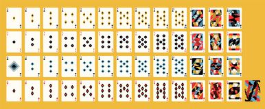 Kreatywnie współczesny artystyczny projekt klasyczny Francuski pokład karty do gry z tradycyjnymi kostiumami dla kasynowej gry royalty ilustracja
