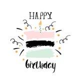 Kreatywnie wszystkiego najlepszego z okazji urodzin powitania tło Ręki rysować atrament granicy, Wektorowa ilustracja ilustracja wektor