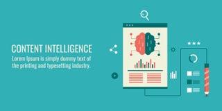 Kreatywnie zadowolony rozwój, technologia cyfrowa, business intelligence pojęcie Płaski projekta wektoru sztandar Obraz Stock