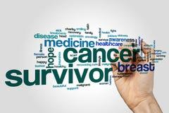 Krebsüberlebendwort-Wolkenkonzept auf grauem Hintergrund Stockbild