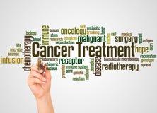 Krebs-Behandlungswortwolke und -hand mit Markierungskonzept stock abbildung
