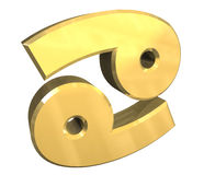 Krebsastrologiesymbol im Gold (3d) Lizenzfreies Stockbild