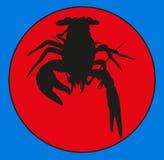Krebse des Emblems Marinekrebstiere, Panzerkrebsschattenbild, Panzerkrebsikone, Hummerzeichen, Panzerkrebs Gruppe Gliederfüßer Sy stock abbildung