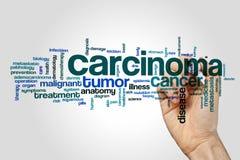 Krebsgeschwürwort-Wolkenkonzept auf grauem Hintergrund Lizenzfreies Stockbild