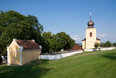 Krecov, Western Bohemia, Czech republic,. Cemetery and baroque church of St. Peter and Paul in the village Krecov, Western Bohemia, Czech republic, Europe Stock Images