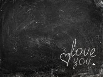 Kreda nacierał out na blackboard z wiadomość rysunkiem Fotografia Royalty Free