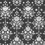 Kreda textured kwiecisty adamaszkowy bezszwowy wzór ilustracja wektor