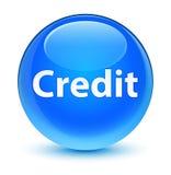 Krediet glazige cyaan blauwe ronde knoop Stock Foto