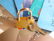 Kredit cards and locker with keys Royalty Free Stock Images