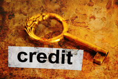 Kredit und Schlüsselkonzept Stockbild