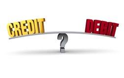 Kreditering eller debitering Arkivfoton