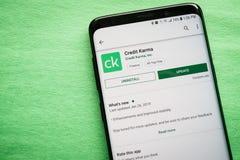 Kreditering Karma App arkivbild