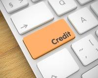 Kreditering - text på orange tangentbordtangentbord 3d Fotografering för Bildbyråer