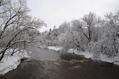 Krediteringsflod i den kalla vintermorgonen Royaltyfria Foton