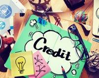Krediteringsredovisning som packar ihop finansiell affärsidé Fotografering för Bildbyråer