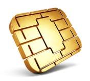 Kreditkarte-Chip- oder SIM-Karten-Chip Karten-Chip lokalisiert auf Weiß stock abbildung