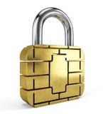 Kreditkarte-Chip Security-Konzept Vorhängeschloss-Karten-Chip lokalisiert auf Weiß lizenzfreie abbildung