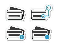 Kreditkarte, CVV Codeikonen als Kennsatzfamilie lizenzfreie abbildung