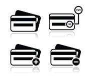 Kreditkarte, CVV schwarze Ikonen des Codes stellte mit Schatten ein stock abbildung