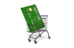 Kreditkarte in einem Supermarktwarenkorb auf weißem Hintergrund Stockbilder