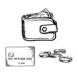 Kreditkarte, Geldbörse mit Geld und Münzenskizze Lizenzfreies Stockfoto