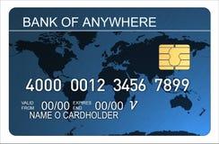 Kreditkarte mit der Weltkarte blau Lizenzfreies Stockbild