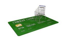 Kreditkarte mit einem Warenkorb auf weißem Hintergrund Stockbild
