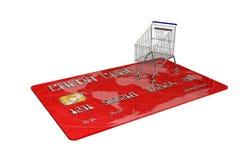 Kreditkarte mit einem Warenkorb auf weißem Hintergrund Stockfotografie