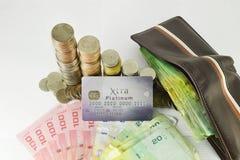 Kreditkarte mit Geld Lizenzfreies Stockbild