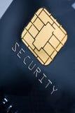 Kreditkarte mit Goldchip stockfotos
