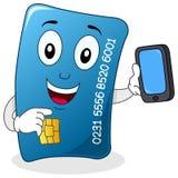 Kreditkarte mit Handy-Charakter Stockfotos