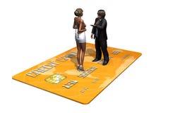 Kreditkarte mit Personen im Geschäft Stockfoto