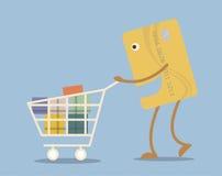Kreditkarte mit Warenkorb in der Karikaturart Stockfotos