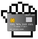 Kreditkarte in pixelated Hand Stockfotografie