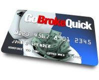 Kreditkarte - seien Sie schnell pleite Stockfoto