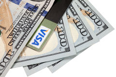 Kreditkarte und Dollar Stockfotografie