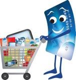 Kreditkarte und Einkaufenlaufkatzekarikatur Lizenzfreies Stockbild