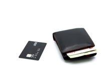 Kreditkarte und Geldbörse Stockbilder