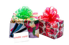 Kreditkarte und Geschenk Stockfotografie