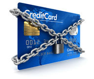 Kreditkarte und Verschluss (Beschneidungspfad eingeschlossen) Stock Abbildung
