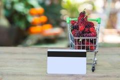 Kreditkarte und Warenkorb oder Laufkatze Lizenzfreie Stockbilder