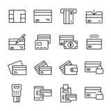 Kreditkarte-in Verbindung stehende Vektor-Linie Ikonen Lizenzfreie Stockfotos