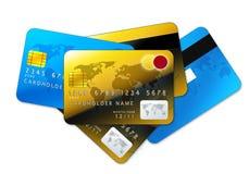Kreditkarten auf weißem Hintergrund Stockbild