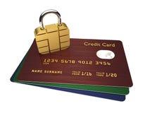 Kreditkarten mit sim Vorhängeschloß über weißem Hintergrund Stockbilder