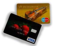 Kreditkarten Visum und Maestro Stockbild