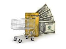 Kreditkort, dollar och shoppingvagn Arkivfoto